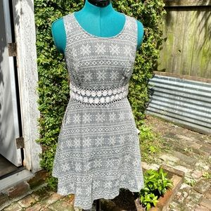 Umgee Crochet Daisy Waist Folk Print Skater Dress